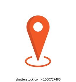 Location map icon, gps pointer mark. Locate orange symbol.