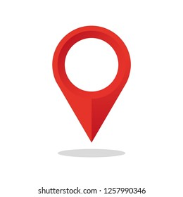 Location map icon. Pointer map. Red color. Vector illustration.