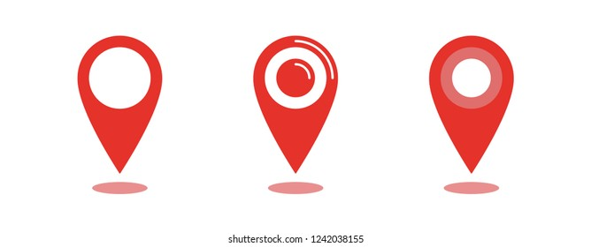 Location map icon set, gps pointer mark vector collection