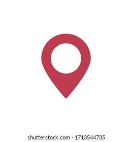 location map icon. vector symbol red color in flat style