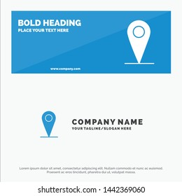 Location , Map, Pin SOlid Icon Website Banner and Business Logo Template