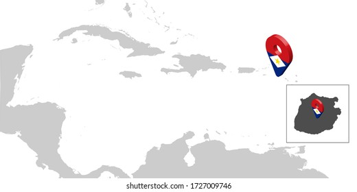 Location Map Saba on map Central America. 3d Saba flag map marker location pin. High quality map of Saba. Antilles. Central America. Netherlands. Vector illustration EPS10
