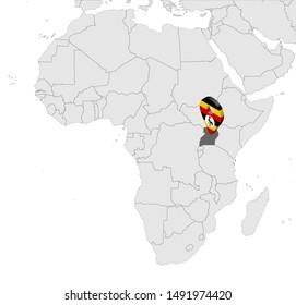 Location Map of Uganda on map Africa. 3d Uganda flag map marker location pin. High quality map of Uganda.  Vector illustration EPS10.