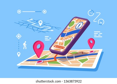 Location maps online application vector illustration. Modern smartphone with opened app of geolocation with pins, possible routes, distances flat style design. GPS satellite navigation concept