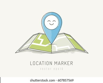 Location marker on a map  with happy face. Vector illustration in scribble watercolor style with pastel colors