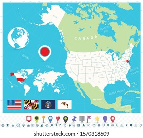 Location of Maryland on USA map with flags and map icons. Detailed vector illustration.