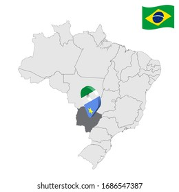 Location of Mato Grosso do Sul on map Brazil. 3d Mato Grosso do Sul location sign similar to the flag of Piaui. Quality map  with regions of Brazil. Federal Republic of Brazil. EPS