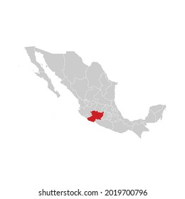 Location of Michoacan in Mexico Map Vector