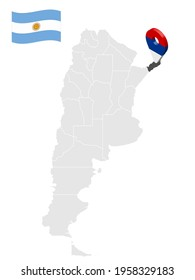 Location of  Misiones Province  on map Argentina. 3d location sign similar to the flag of Misiones. Quality map  with  provinces of  Argentina for your design. EPS10