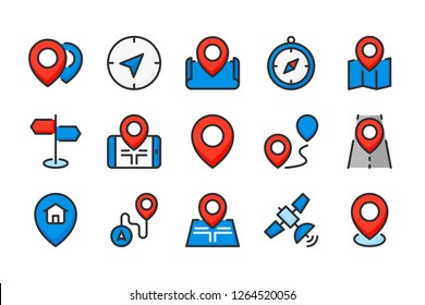 Location and navigation color line icons. Map pointer and road way vector linear colorful icon set. Isolated icon collection on white background.