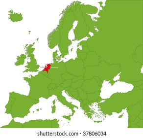 Location of Netherlands on the Europa continent