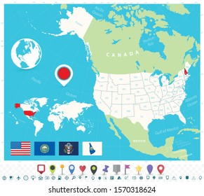 Location of New Hampshire on USA map with flags and map icons. Detailed vector illustration.