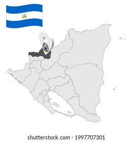 Location of  Nueva Segovia Department  on map Nicaragua . 3d location sign similar to the flag of Nueva Segovia. Quality map  with  provinces of  Nicaragua for your design. EPS10