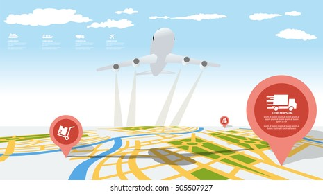 Location on the 3d map with plane