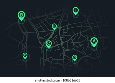 location on street map green color.vector illustration