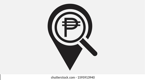 Location , Philippine Peso and search icon. Looking for money. Search Philippine Peso money. Philippine Peso with magnifying glass icon. Vector illustration icon