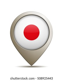 Location Pin With Flag of Japan