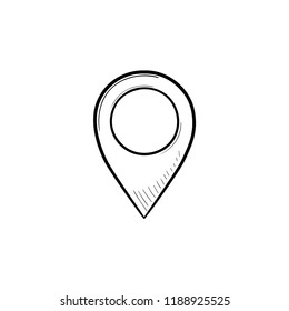 Location pin hand drawn outline doodle icon. Map pointer, place location, GPS pin and navigation concept. Vector sketch illustration for print, web, mobile and infographics on white background.