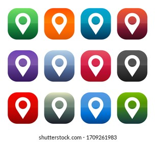 Location pin icon shiny square buttons set illustration design isolated on white background