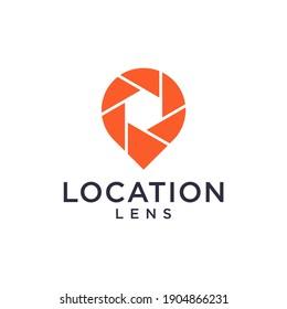 Location pin and lens camera logo set inspiration
