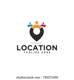 location pin map design logo template