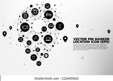 Location Pin mark icon and place around with polygon dot connected line, concept of location and facility place , GPS technology