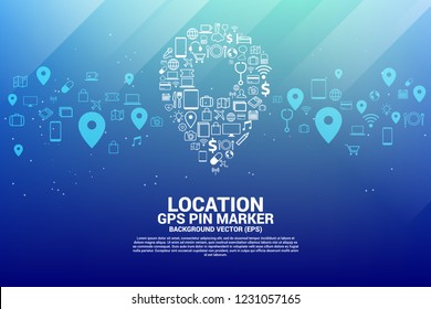 Location pin marker signage shaped with utility functional icon. GPS Pin location Technology concept.