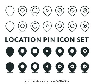 Location Pin Navigation Pointer Destination Minimal Vector Line and Solid Icon Collection Set