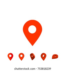 Location pin. Set of location pins. Map pointer. Perspective and flat pins. Vector illustration