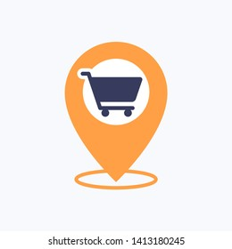 Location Pin Shopping Vector Icon
