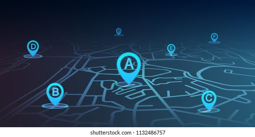 location pin showing on street map blue color. vector illustration