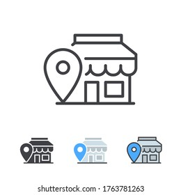 Location Pin,  store point. Local marketing e-commerce campaign strategy. Market And shop location Map based advertising. Local advertising icon. Vector illustration design on white background. EPS10