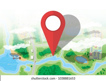 Location pin. Suburban map with houses with car, boats, trees, road, river, forest, lake and clouds. Village aerial view. Map and cartography. Vector illustration in flat style