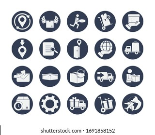 location pins and fast delivery icon set over white background, block style, vector illustration