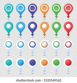 Location pins mega set. Marker 3D. Map pointer pin vector set isolated. Web location point, pointer 3d arrow mark