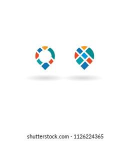 Location point pin logo