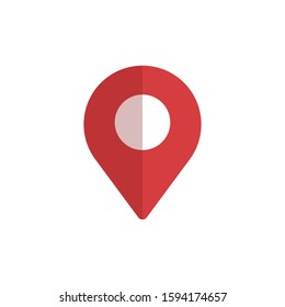 Location pointer icon. Pin map. Red color. Vector illustration.