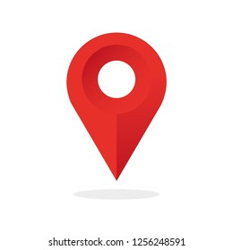 Location pointer map with shadow. Red color. Vector illustration.