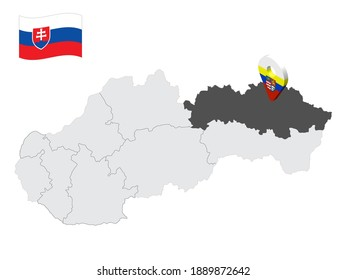 Location  Presov Region on map Slovakia. 3d location sign similar to the flag of Presov Region. Quality map  with regions of Slovakia for your design. EPS10.