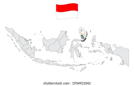 Location of Province North Sulawesi on map Indonesia. 3d  North Sulawesi flag map marker location pin. Quality map with Provinces of Indonesia for your web site design, app, UI. EPS10.