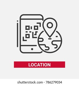 Location QR code - line design single isolated icon on white background. An image of a smartphone, globe with a mark on it. High quality black pictogram