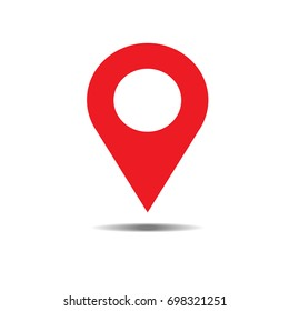 Location red icon vector. Pin sign Isolated on white background. Navigation map, gps, direction, place, compass, contact, search concept. Flat style for graphic design, logo, Web, UI, mobile. EPS10