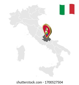 Location region Abruzzi on map Italy. 3d Abruzzi location sign. Quality map  with regions of Italy for your web site design, app, UI.  Stock vector. EPS10.