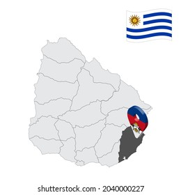 Location Rocha Department  on map Uruguay. 3d location sign similar to the flag of Rocha Department. Quality map  with  regions of Uruguay for your design. EPS10