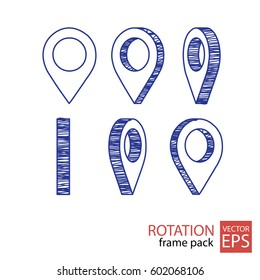 location rotating icon set of frames in the style of doodle