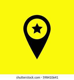 Location star icon. Black icon and yellow