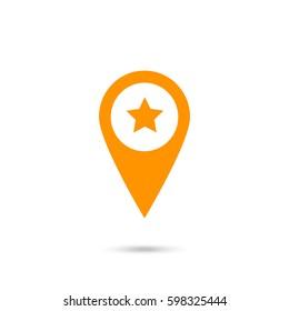 location star icon. Orange icon