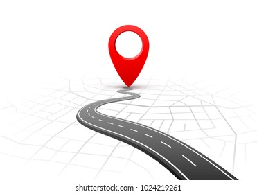 Location travel road white background. Vector illustration