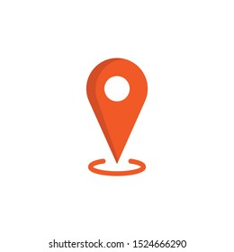 Location vector icon. Orange Map pin symbol.