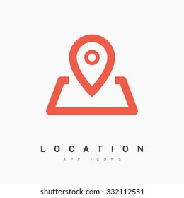 location vector icon. Pin on the map. Isolated minimal single flat icon. One of a set of linear web icons. Line vector icon for websites and mobile minimalistic flat design.